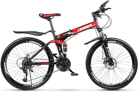 AUTOKS Bicicleta de montaña, Bicicletas de montaña rígidas de 26 Pulgadas, Freno de Doble Disco y Horquilla de suspensión Delantera 21/24/27 Speed Bicyc Plegable: Amazon.es: Deportes y aire libre