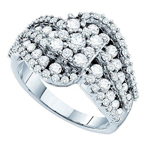 14kt White Gold Womens Round Diamond Flower Cluster Swirl Cocktail Ring 2.00 Cttw ()