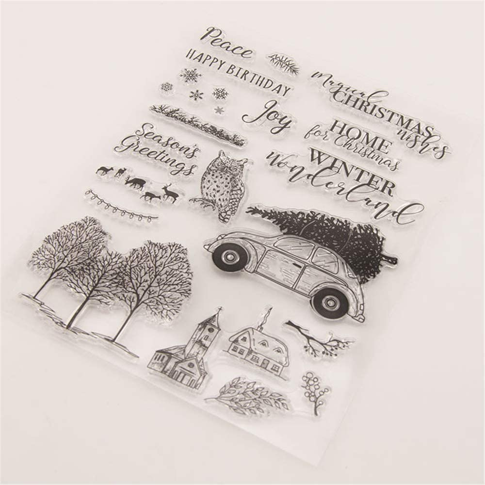 Winter Tree Branches Bird Rabbit Fox House Silicone Stamps for Card Making and Scrapbooking Warm Wishes Clear Rubber Stamps T1615