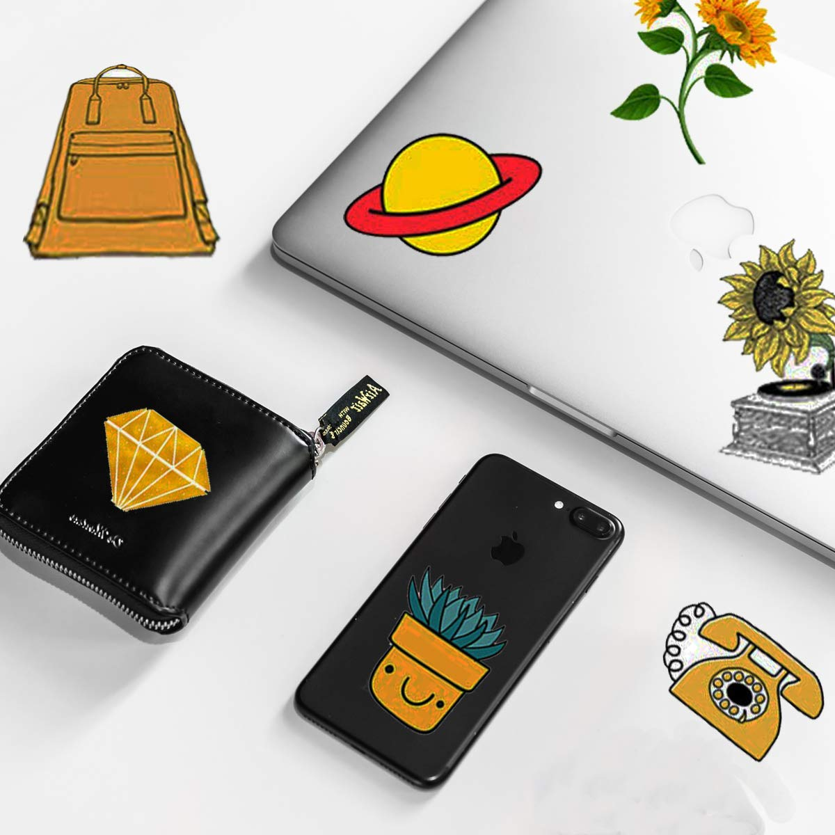 Trendy VSCO Vinyl Stickers for Laptop Water Bottles (50-Pack) Cute Aesthetic Waterproof Stickers for Hydroflask Phone Skateboard Guitar, Suitable for Girls, Kids, Teens, Adults (Yellow Series)