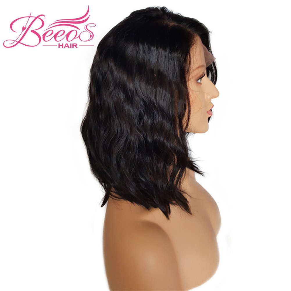 BEEOS Hair Brazilian Virgin Human Hair Lace Front Wigs Glueless Short Bob Human Hair Wigs Wavy With Baby Hair For Black Women 14inch Short Wavy Lace Wigs On Sale by BEEOS (Image #3)