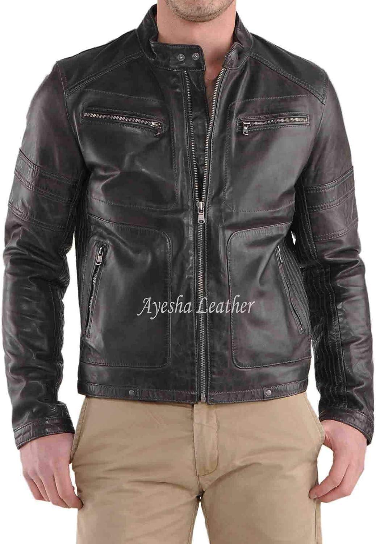 Ayesha Mens Leather Jackets Motorcycle Bomber Biker Genuine Lambskin 44