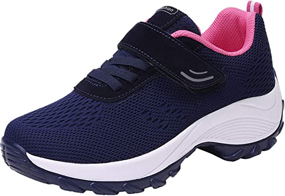 WOZOW Flying Weaving Le Running Chaussures pour Femmes, De