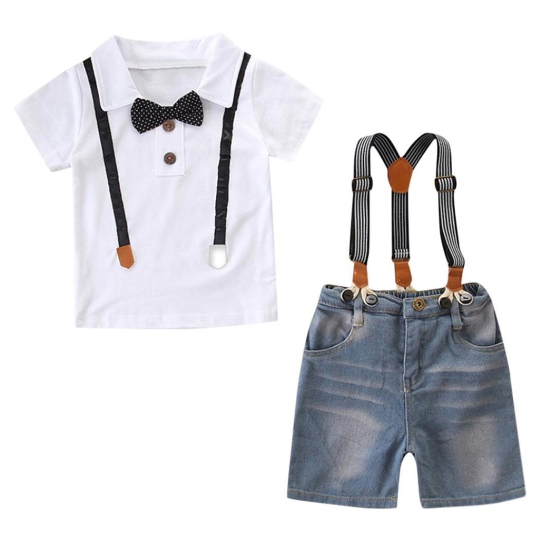 Little Boy Summer Sets,Jchen(TM) 2Pcs Toddler Baby Kids Boy Gentleman Bowtie Tops T-Shirt Denim Shorts Overall Clothes Sets Gentleman Outfits for 1-7 Y (Age: 1-2 Years Old)