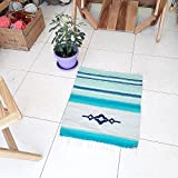 Blue turquoise handwoven wool rug, handmade for your home decor by Rugs N' Bags - unique wool rug