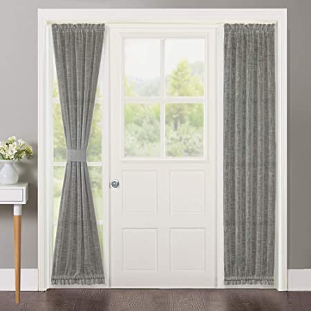 Door Door Window Curtain Panel in White NICETOWN Curtain for French Front Door