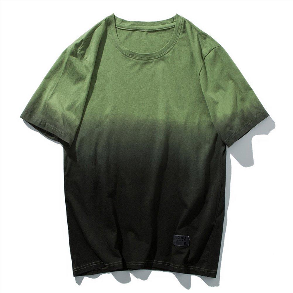 Sport T-Shirt Männer Gradient Baumwolle Kurzarm Breathable Sweat Fitness Reiten Wandern T-Shirt,5,L