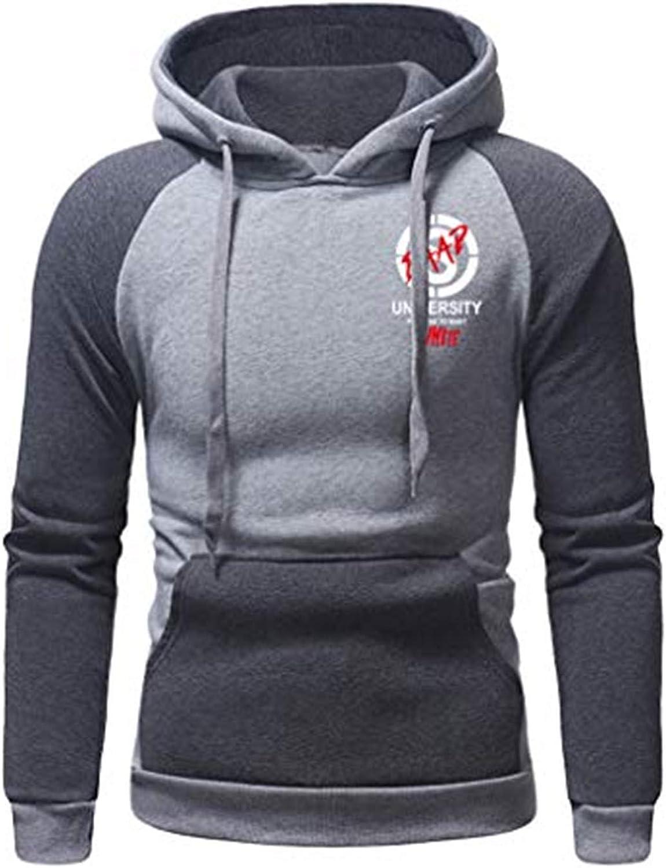 Men Long Sleeve Thanksgiving Print Drawstring Kangaroo Pocket Pullover Hooded Sweatshirt