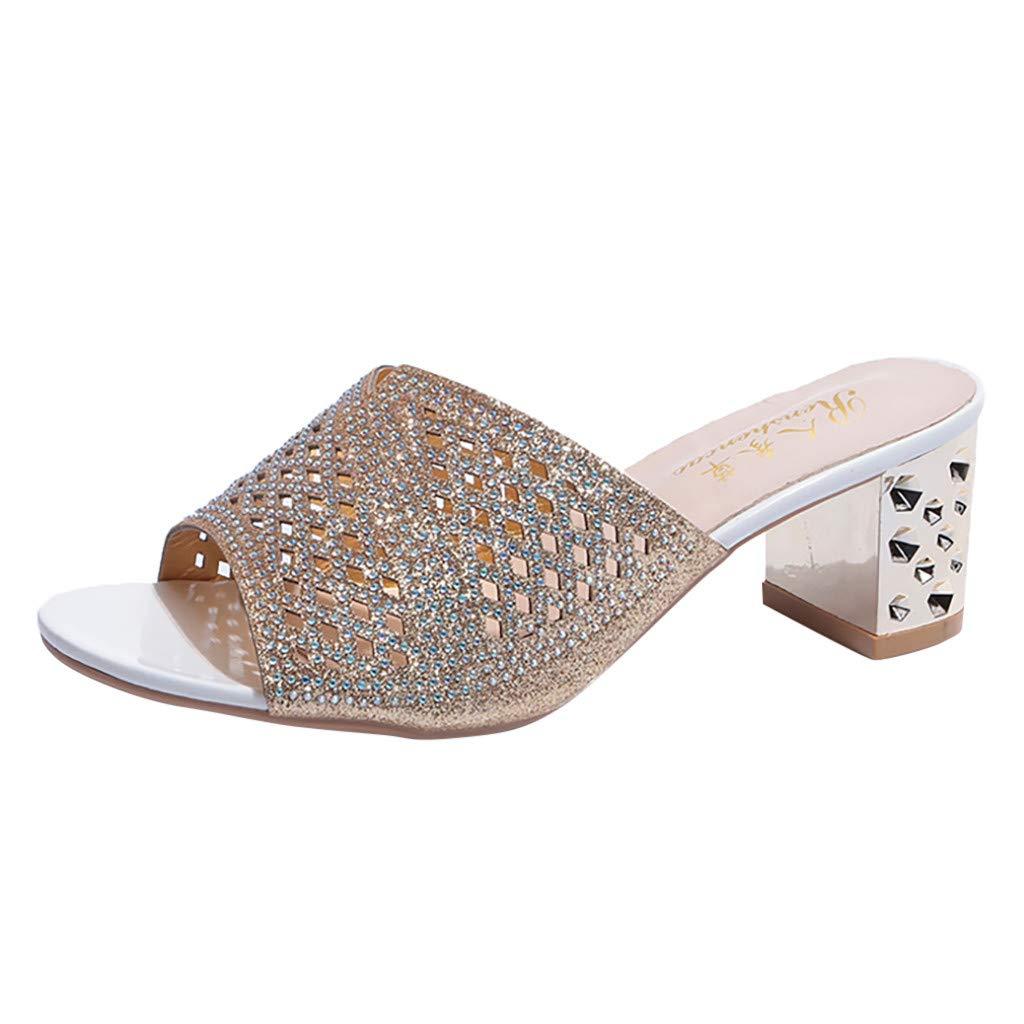 YKARITIANNA Women's Ladies Bohemia Style Crystal Peep Toe Slipper Sandals Casual Shoes Gold