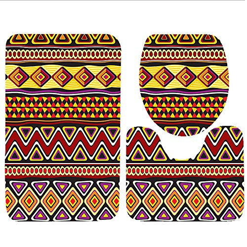 Keshia Dwete three-piece toilet seat pad customAfrican Collection Native African Ethnic Horizontal Patterns with Folk Figures Wilderness Heritage Brown Green Wilderness Lodge Christmas Music