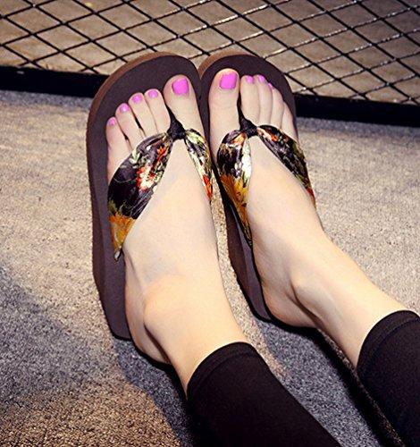 YOUJIA Mujeres Chanclas Verano Cuñas Zapatos de playa Satín Boho Plataforma Zapatillas Estampado Marrón Oro