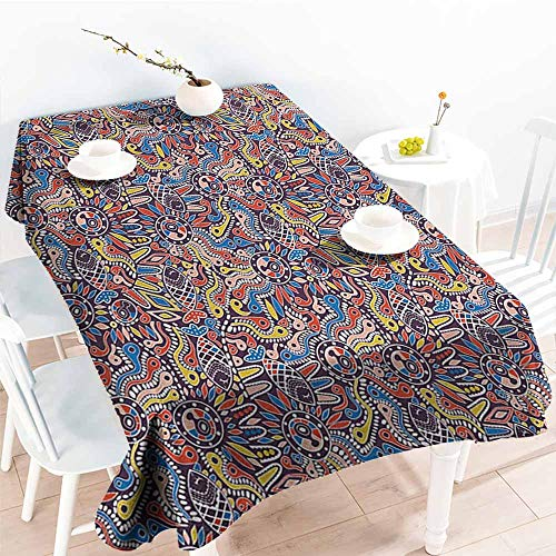 familytaste Ethnic,Decor Collection Table Cloths Tribal Mosaic Style Folk Primitive Historical Nature with Snakes Fishes Boho Gypsies 50