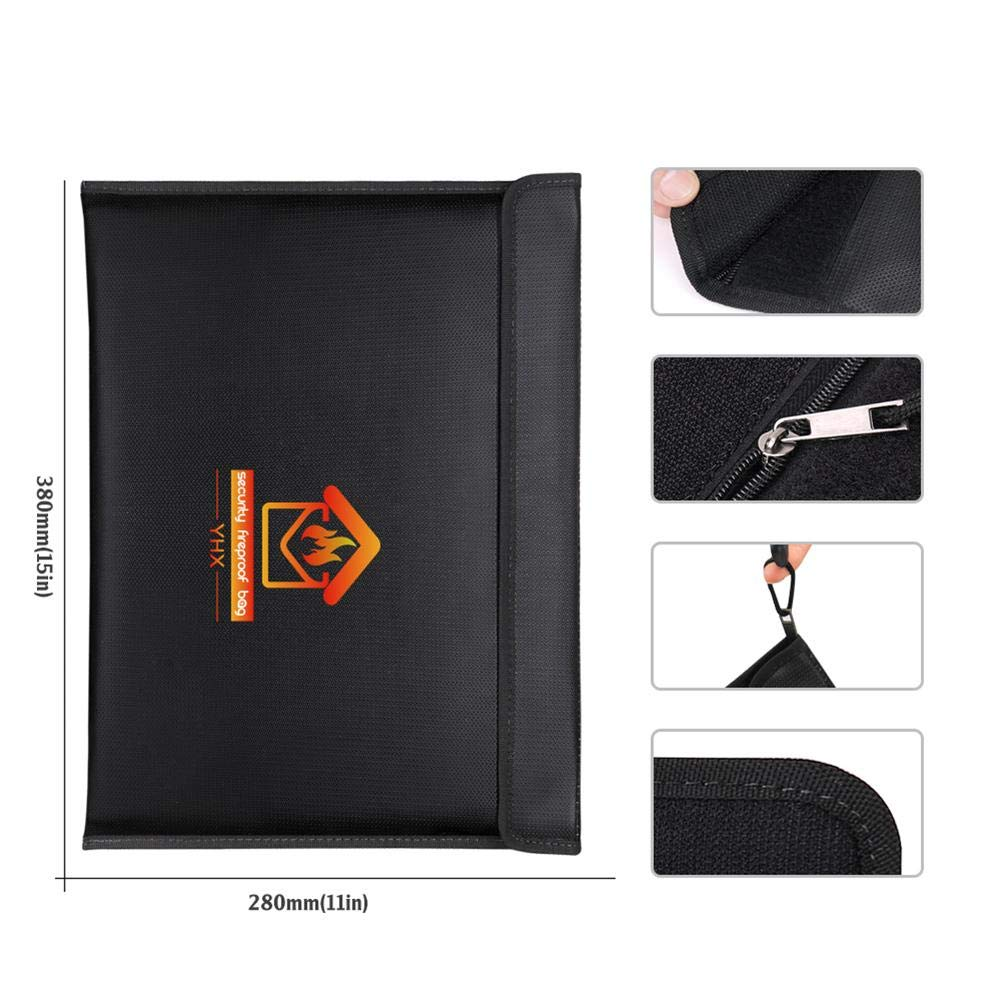 A4 Fire Resistant Safe Storage Pouch Sleeve for Document,Cash Cell phone Generp Fireproof File Bag Bank Deposit and Passport 14.96/×11.02 Waterproof and Anti-signal interference Envelope