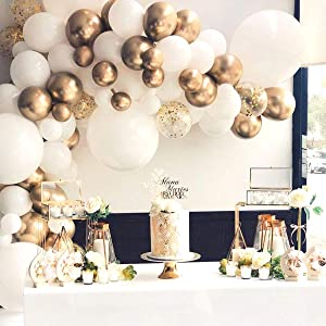 Futureferry Balloon Garland Arch Kit-117 Pcs White and Gold Balloons-Wedding Birthday Bachelorette Engagements Anniversary Party Backdrop DIY Decorations