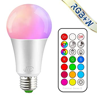 iLC Bombillas Colores RGBW LED Bombilla Regulable Cambio de Color Edison 10W E27 - RGB 12