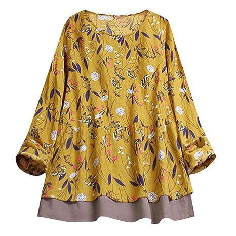 iHENGH Damen Herbst Winter Bequem Mantel Lässig Mode Jacke Frauen  Frauen mit Langen Ärmeln Vintage Floral Print Patchwork Bl