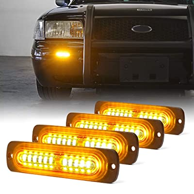 Xprite Amber 12 LED Emergency Strobe Lights Kit Surface Flush Mount Side Marker Grill Grille Hazard Warning Flashing Light Head for Off-Road Vehicles ATV Trucks Cars - 4Pcs: Automotive