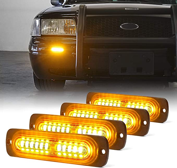 Utility Vehicle 16W Bright Linear LED Mini Strobe Lightbar Surface Mount for POV Construction Vehicle and Tow Truck Van AT-HAIHAN Amber Grille Light Head