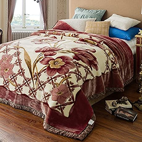 Znzbzt Double Thick Blanket Dorm Single Double Warm Winter Fleece Blanket Blanket Rmal Blanket 200x230cm Double 7 Pounds Such As Flowers May Wish Kam
