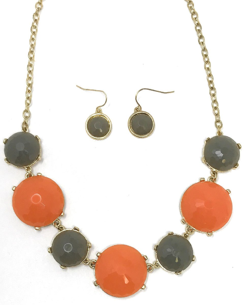 Dave's Collections Women's Fashion Green Orange Bib Collar Statement Jewelry Earring Necklace Set
