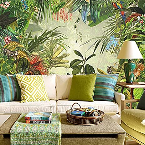 HUANGYAHUI Mural Southeast Asian Style Tropical Rain Forest Banana Leaves  Green Forest Background Wallpaper Living Room