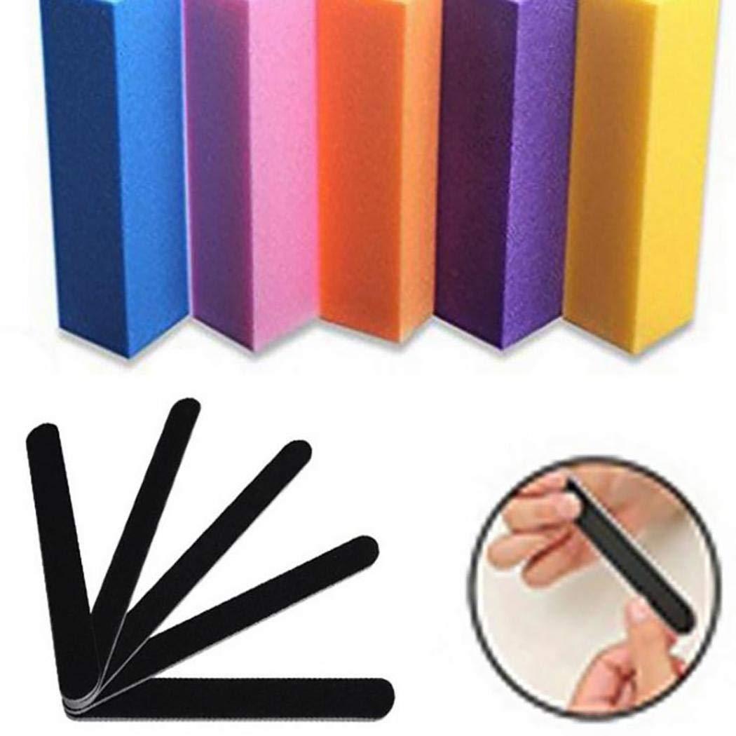 Xixini 5pcs limas de uñas + 5 unids conjunto de bloques de lijado de búfer manicura herramientas de belleza de color enviar al azar