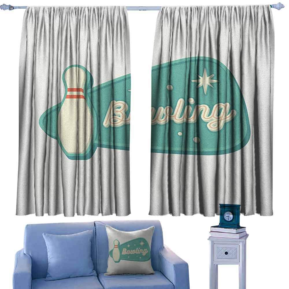 ParadiseDecor Bowling Girs Room Backout Curtains Vintage Design in Traditional American Style Hobby Fun Sports Theme,Thermal Insuated Curtain Panels,W42 x L63 Inch by ParadiseDecor