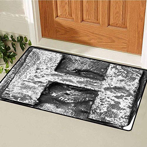 Gloria Johnson Letter H Front Door mat Carpet Victorian Stylized Capital H Font in Chrome Rock Tones Steel Look Retro Design Machine Washable Door mat W19.7 x L31.5 Inch Black Grey Chrome Ribbed Four Light Bath