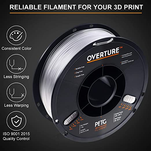 Amazon.com: Filamento 3D PETG transparente de 0.112 in con ...