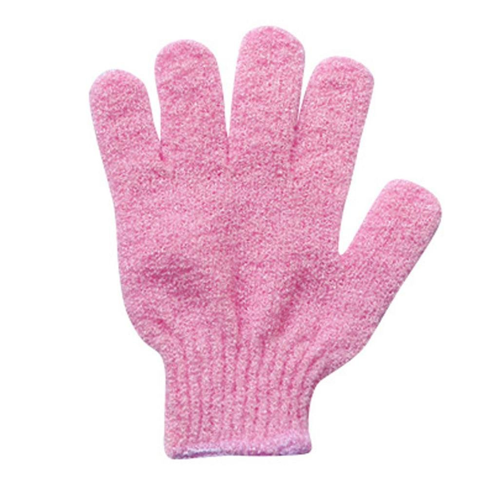 Tianya Shower Gloves Exfoliating Wash Skin Spa Bath Gloves Foam Bath Skid Resist (Pink)