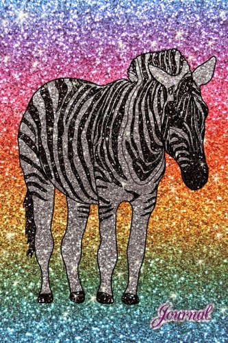 Zebra Journal - Journal: Faux rainbow glitter zebra glitter notebook