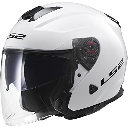 333ea15f Amazon.com: LS2 Helmets Infinity Solid Open Face Motorcycle Helmet with  Sunshield (White, X-Small): Automotive