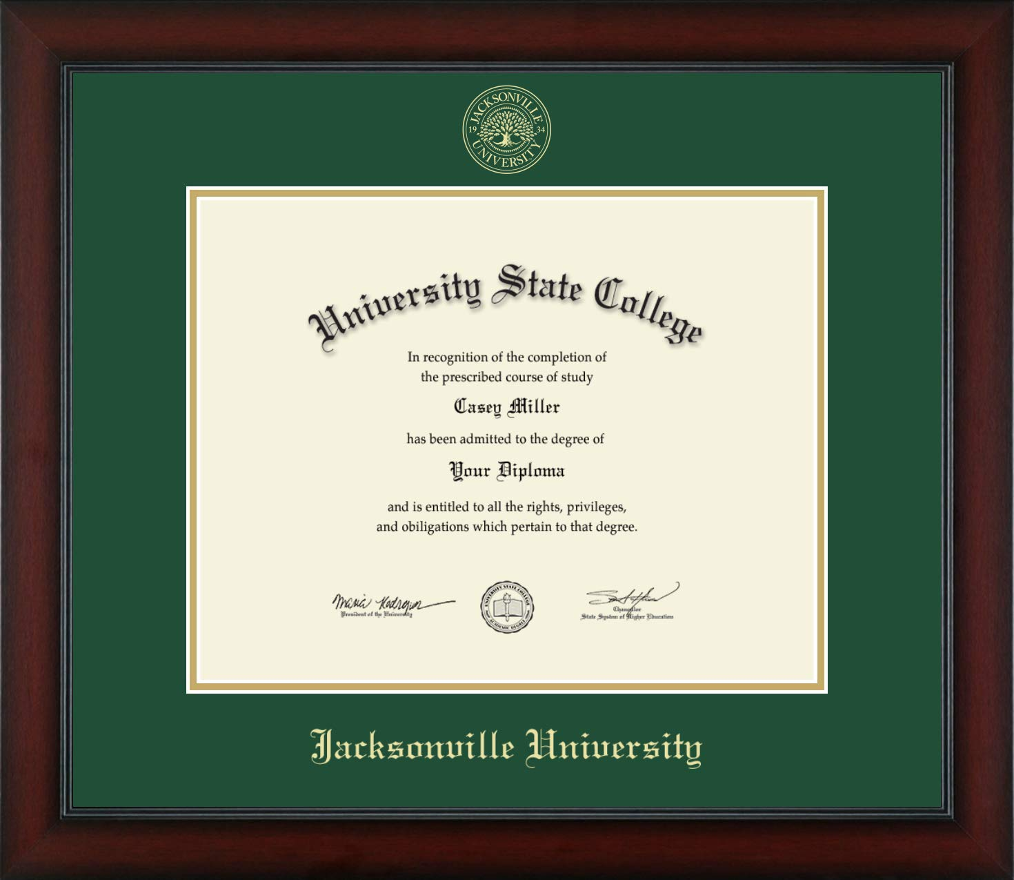 Jacksonville University - Officially Licensed - Gold Embossed Diploma Frame - Diploma Size 14'' x 11''