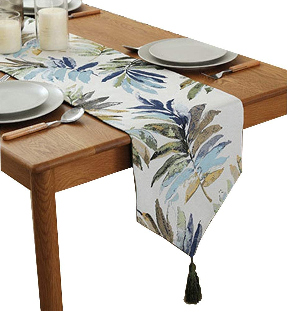 ZebraSmile Various Sizes 100% Polyester Leaves Table Runners with Tassels for Dining Table Decoration Home Decor 13 X 72 Inches