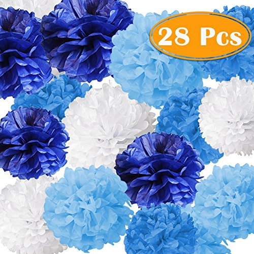 Paxcoo 28 Pcs Boy Baby Shower Blue Tissue Pom Poms Decorations for Boy First Party