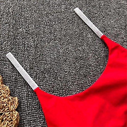 Imbottito Pezzo Up Bling Bikini Bagno Costumi Un Costume Donne Kword Rosso Bagno Da Sexy Costume da Tute Solid Push xRq7P0C
