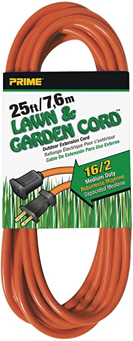 Prime Wire & Cable EC481625 25-Foot 16/2 SJTW Lawn and Garden ...