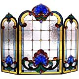 Tiffany Style Victorian Design 3 Pieces Folding Fireplace Screen