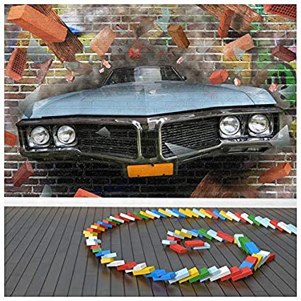 Amazon Com Car Crashes Through Brick Wall Abstract Graffiti