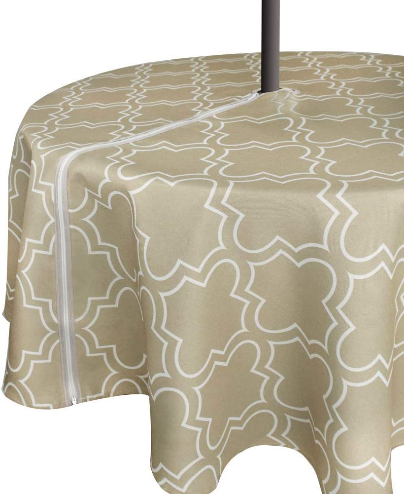 VCVCOO Outdoor Patio Picnic Umbrella Tablecloth with Zipper and Umbrella Hole, Water and Stain Resistant Table Cloth for BBQs Garden Open Courtyards(Khaki, 60 inch Round-Zippered)
