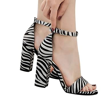 Amazon.com  Women Peep Toe Zebra Striped Leopard Shoes Chunky High Heel  Strap Shoes JHKUNO  Clothing e029ea6f56