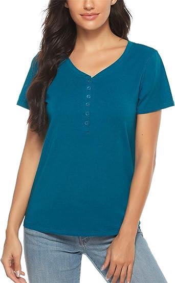 Doaraha Camiseta para Mujer Algodón Verano Manga Corta Cuello V Botones Elegante Blusa Casual Shirts: Amazon.es: Ropa y accesorios