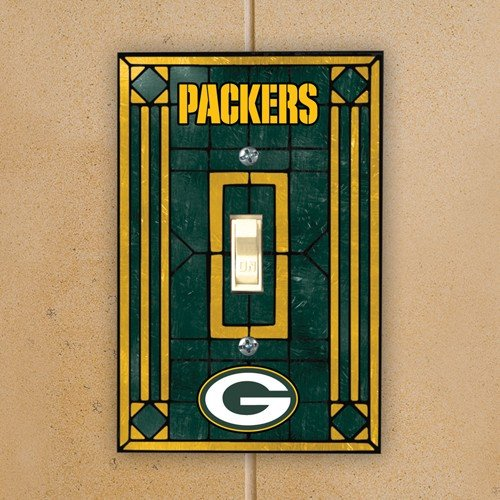 Football Switchplate Cover (Green Bay Packers Art Glass Lightswitch Cover)