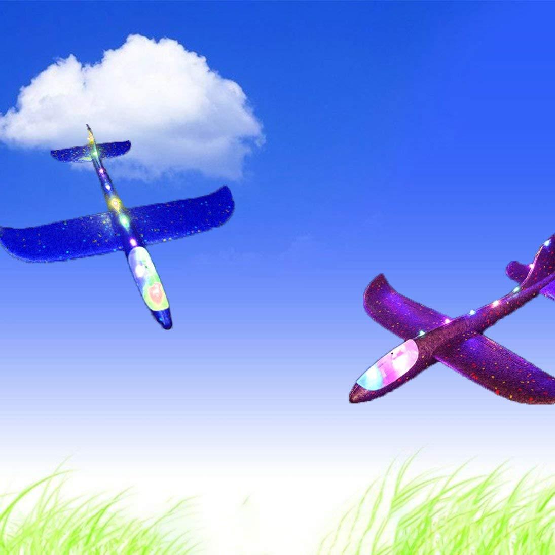 Togames-ES Iluminaci/ón Lanzamiento de Avi/ón Espuma Planeador Espuma Inercia Avi/ón Juguete Lanzamiento a Mano Mini Avi/ón Juguetes para ni/ños al Aire Libre