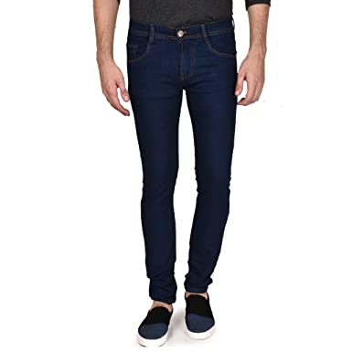 754eb2269e05 Routeen Men's Slim Fit Dark Blue Cotton Jeans Pants: Amazon.in ...