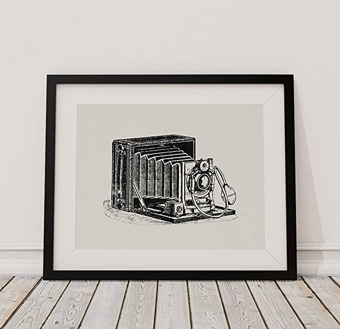 Amazon.com: Vintage Camera Print Antique Camera Illustration Wall Art Poster or Print in a White Paper Style - Office, Bedroom, Livingroom Home Decor (8 x ...