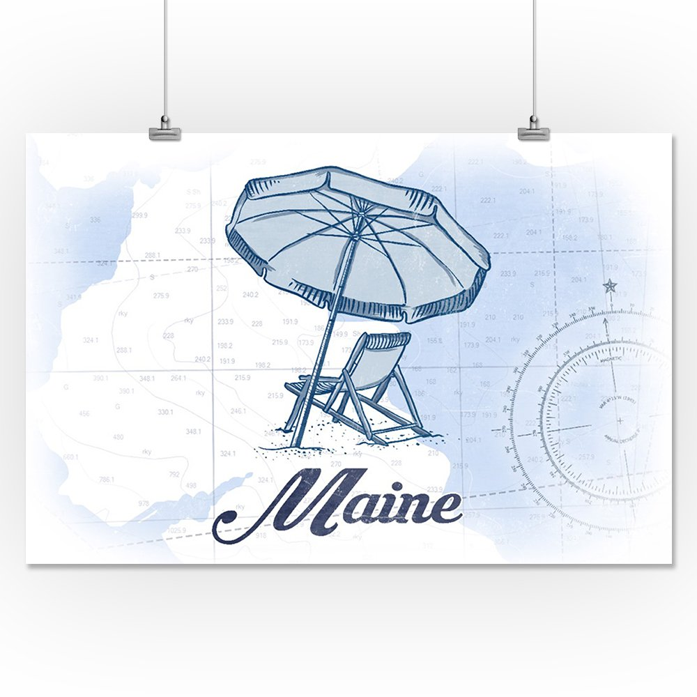 Amazon com: Maine - Beach Chair and Umbrella - Blue - Coastal Icon