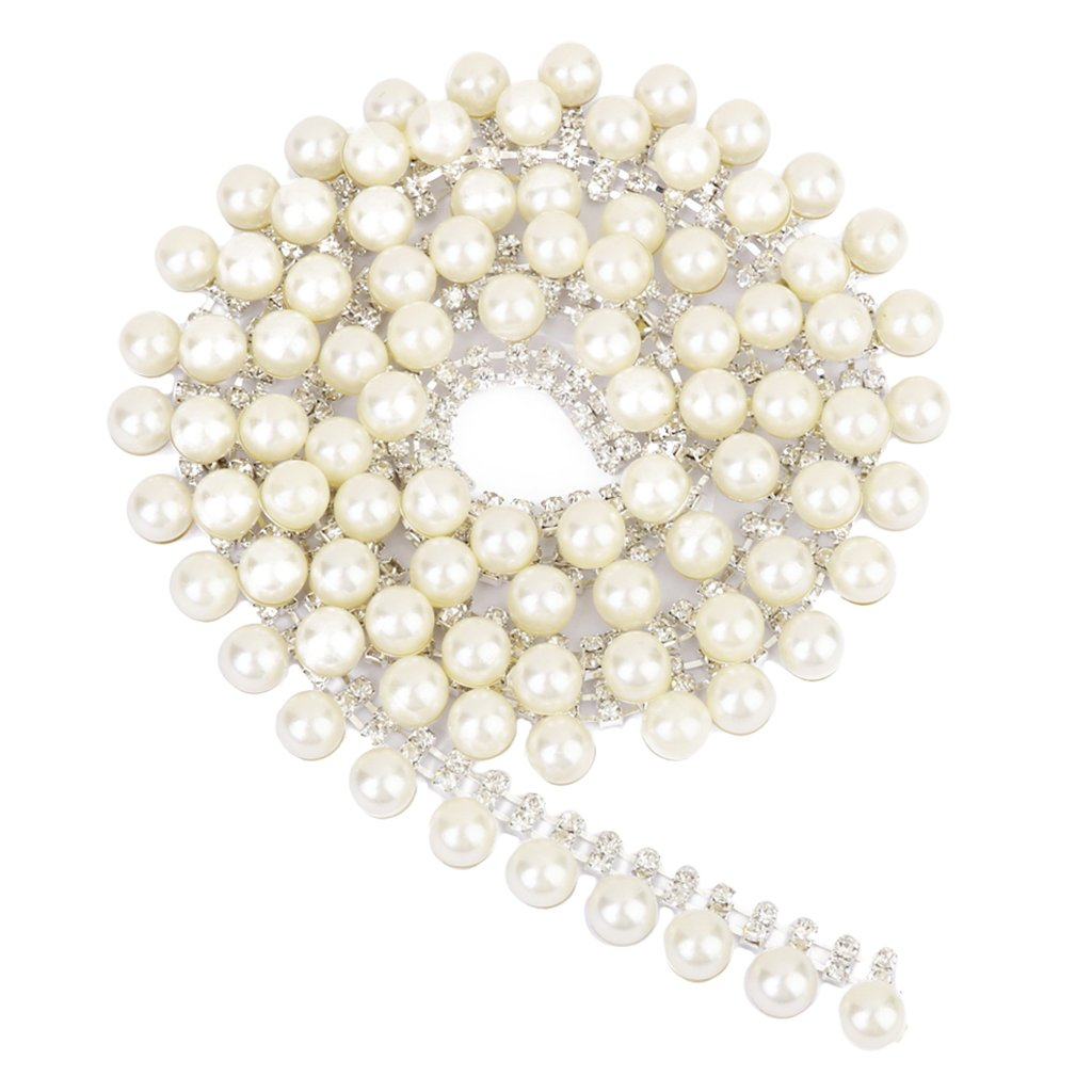 2-Row Rhinestone Faux Pearl Chain Jewellery Making Sewing Trim Craft 1 Yard Generic
