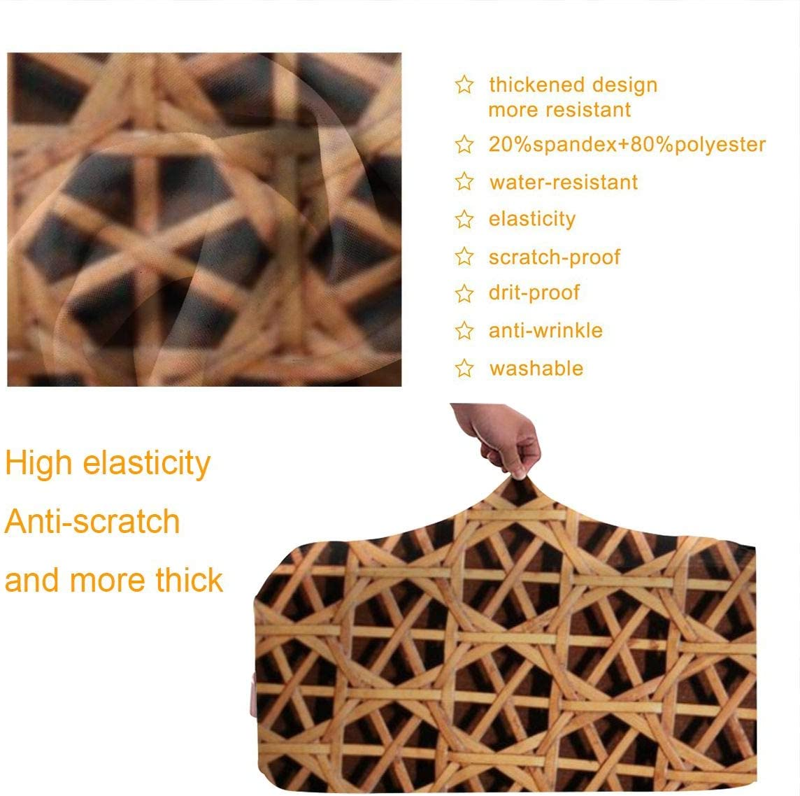 Travel Luggage Cover Wicker Woven Grid Design Travel Suitcase Protector Anti-scratch Washable Dust Thicken Elasticity Cover
