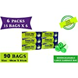 Green City- Garbage Bag |Large: 60CmX81Cm | 6 Pack of 15bags- 90Bags | 100% OXO-Biodegradable Eco-Friendly Dustbin Bags - Green